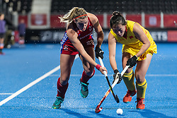 Lily Owsley of Great Britain Women is tackled by Zixia Ou of China Women during the 2019 Women's FIH Pro League match at Lee Valley Hockey Centre, Stratford<br /> Picture by Simon Parker/Focus Images Ltd <br /> 03/05/2019