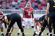 FAYETTEVILLE, AR - NOVEMBER 24:  De'Jon Harris #8 of the Arkansas Razorbacks looks over the offense during a game against the Missouri Tigers at Razorback Stadium on November 24, 2017 in Fayetteville, Arkansas.  The Tigers defeated the Razorbacks 48-45.  (Photo by Wesley Hitt/Getty Images) *** Local Caption *** De'Jon Harris
