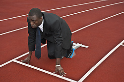 Oct. 11, 2009 - business man in starting blocks. Model and Property Released (MR&PR) (Credit Image: © Cultura/ZUMAPRESS.com)