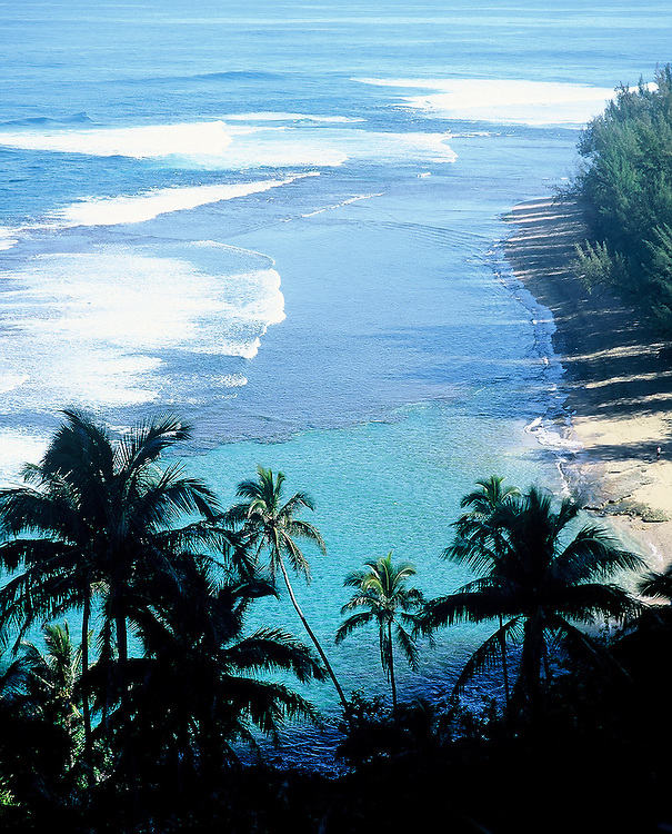 View of Pacific Ocean from cliff above Napali Coast, Kauai, Hawaii