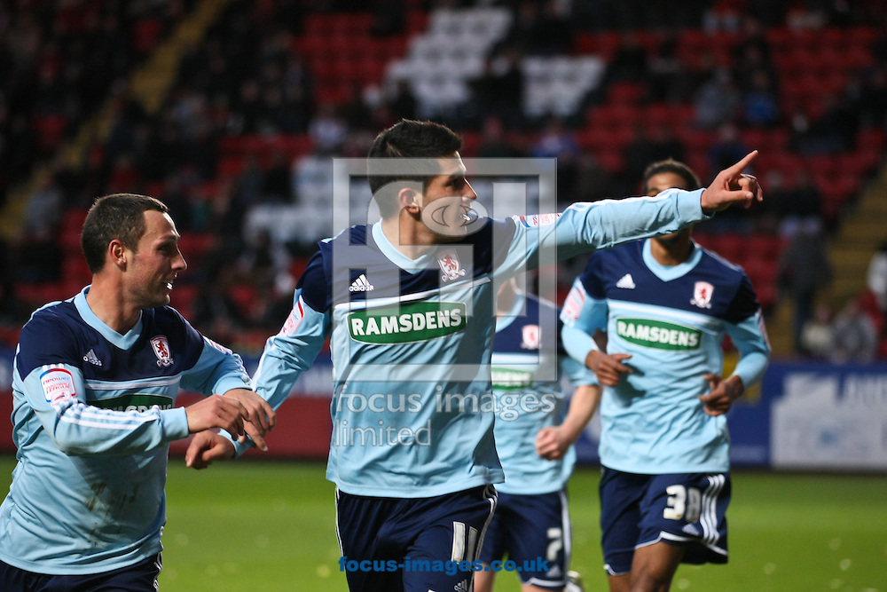 Picture by David Horn/Focus Images Ltd +44 7545 970036.03/11/2012.Emmanuel Ledesma of Middlesbrough celebtrates scoring during the npower Championship match at The Valley, London.