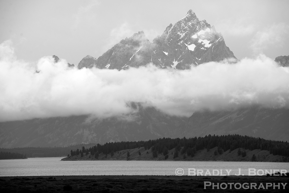 Clouds over the Grand Teton and Jackson Lake