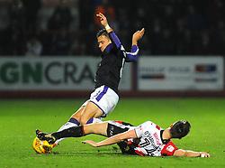 Daniel O'Shaughnessy of Cheltenham Town tackles Oliver Lee of Luton Town  - Mandatory by-line: Nizaam Jones/JMP - 11/11/2017 - FOOTBALL - LCI Rail Stadium - Cheltenham, England - Cheltenham Town v Luton Town - Sky Bet League Two