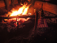 High Desert Test Sites 2013. American flag and fire at a UFO campout in Turkey Springs, AZ.