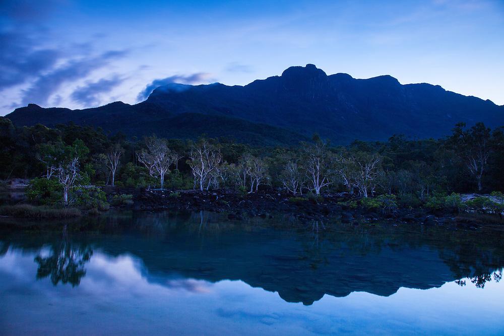 Mt Bowen and Warrawilla Lagoon during the twilight. Hinchinbrook Island National Park.