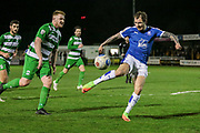 James Norwood (Tranmere Rovers) gets a shot in on target during the Vanarama National League match between North Ferriby United and Tranmere Rovers at Eon Visual Media Stadium, North Ferriby, United Kingdom on 21 March 2017. Photo by Mark P Doherty.