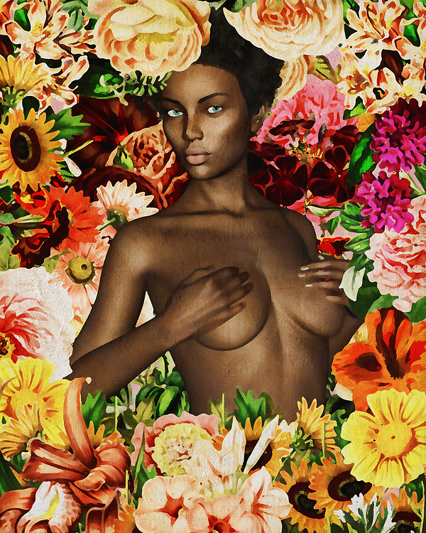 This deeply moving piece by Jan Keteleer showcases the beauty of the naked human form, combined with the stunning natural wonder of flowers. Hands covering her breasts, the woman looks at you with an intense-yet-casual gaze. It is easy to lose yourself in such eyes. As you sink deeper and deeper into the stories behind these eyes, there is the distinct possibility that you will suddenly feel the exotic orchids surrounding her brushing against your face. There is an intoxicating quality to this image, which combines beauty from a variety of different sources. You can find an understated spirituality to this piece, as well.<br />
