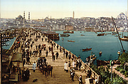Kara-Keui (Galata) Bridge across the Golden Horn, Istanbul (Constantinople), Turkey, looking towards the Yeni Mosque (Mosque of the Valide Sultan) inaugurated 1665. Photochrome c1890-c1900.