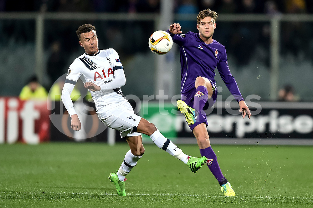 CHELSEA SHOWS INTEREST ON MARCOS ALONSO OF FIORENTINA.<br /> <br /> Marcos Alonso of Fiorentina is challenged by Dele Alli of Tottenham during the UEFA Europa League match between Fiorentina and Tottenham Hotspur at Stadio Artemio Franchi, Florence, Italy on 18 February 2016. Photo by Giuseppe Maffia.
