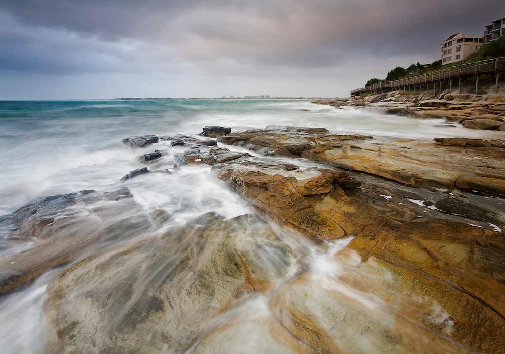 The popular Caloundra holiday spot on a very moody morning creating a dramatic shot.