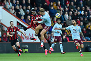 Jefferson Lerma (8) of AFC Bournemouth battles for possession with Jack Grealish (10) of Aston Villa during the Premier League match between Bournemouth and Aston Villa at the Vitality Stadium, Bournemouth, England on 1 February 2020.