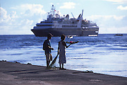 Cruise ship, Mataiva, Tuamotus, French Polynesia<br />