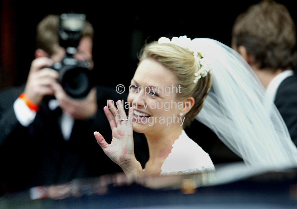 KATIE MAGNIER PICTURED ARRIVING AT THE AUGUSTINIAN ABBEY BEFORE HER WEDDING TO DAVE WATCHMAN. PIC PAUL SHARP