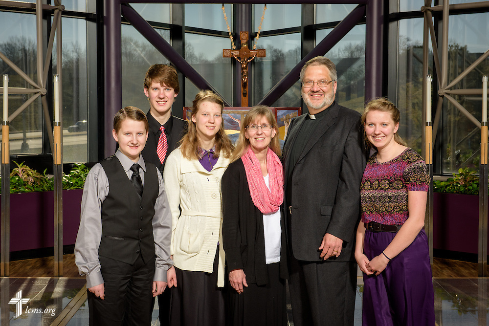 Portrait of the Rev. Hans Trinklein and his family at the International Center chapel of The Lutheran Church–Missouri Synod on Monday, Feb. 29, 2016, in Kirkwood, Mo. LCMS Communications/Erik M. Lunsford
