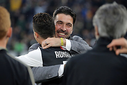 May 19, 2019 - Turin, Turin, Italy - Cristiano Ronaldo #7 of Juventus FC and Gianluigi Buffon during the serie A match between Juventus FC and Atalanta BC at Allianz Stadium on May 19, 2019 in Turin, Italy. (Credit Image: © Giuseppe Cottini/NurPhoto via ZUMA Press)
