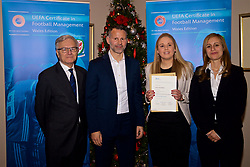 NEWPORT, WALES - Wednesday, December 12, 2018: Siobhan Humphrey receives her certificate from Wales national team manager Ryan Giggs alongside Jean-Loup Chappelet, UEFA CFM Dean (L) and Valentina Mercolli, UEFA HatTrick Programme Manager (R) during the UEFA Certificate of Football Management Graduation Ceremony in the 2010 Clubhouse at the Celtic Manor Resort. (Pic by David Rawcliffe/Propaganda)