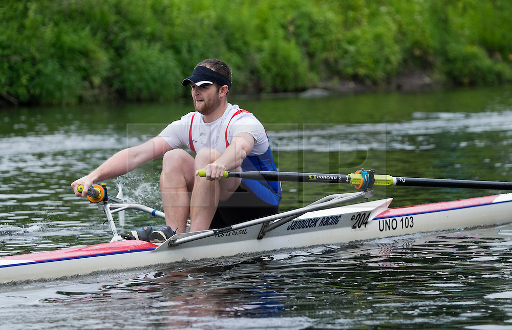 &copy; Licensed to London News Pictures.13/06/15<br /> Durham, England<br /> <br /> A competitor races during the sculling heats at the 182nd Durham Regatta rowing event held on the River Wear. The origins of the regatta date back  to commemorations marking victory at the Battle of Waterloo in 1815. This is the second oldest event of this type in the country and attracts over 2000 competitors from across the country.<br /> <br /> Photo credit : Ian Forsyth/LNP