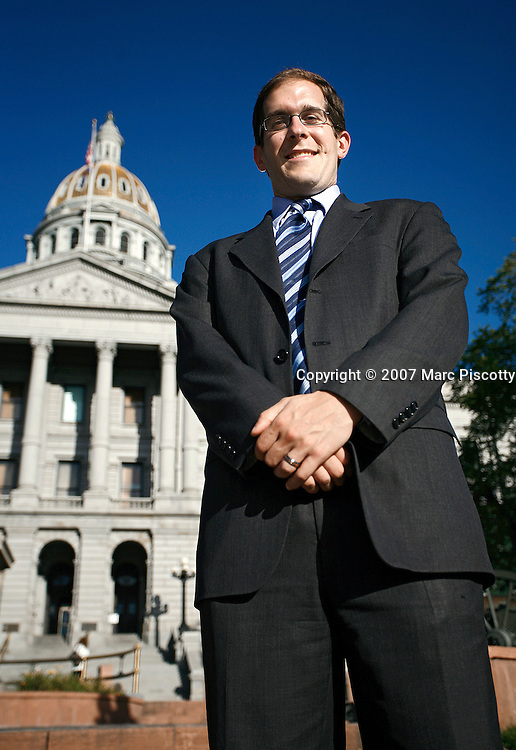 SHOT 9/27/2007 - Newly elected Colorado State Rep. Mark Ferrandino (D, Dist. 2) is the first openly gay male politician in Colorado history. Ferrandino was photographed in front of the Colorado State Capitol in Denver, Co. Ferrandino was elected by a vacancy commission after his predecessor, Mike Cerbo, resigned to become executive director of the Colorado AFL-CIO. Ferrandino grew up in Bardonia, N.Y. .(Photo by Marc Piscotty/ © 2007)