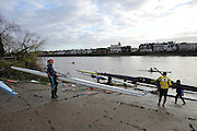 Chiswick, GREAT BRITAIN,   Scullers preparing and boating from Barnes Bridge Ladies RC and Cygnet RC, Dukes Meadows for the 2011 Scullers Head of the River Race, raced over the 'Championship Course', Mortlake to Putney, [Reverse], River Thames. Barnes Bridge, Greater London, England.   Saturday  03/12/2011.  [Mandatory Credit, Peter Spurrier / Intersport-images