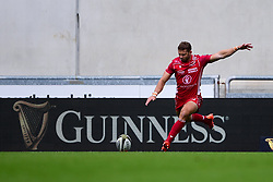 Guinness PRO14, Parc y Scarlets, Llanelli, UK 22/8/2020<br /> Scarlets v Cardiff Blues<br /> Leigh Halfpenny of Scarlets lines up a conversion attempt<br /> Mandatory Credit ©INPHO/Ryan Hiscott