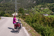Cycling on a route 180 near Prutz, Tyrol, Austria