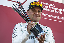 May 13, 2018 - Barcelona, Catalonia, Spain - VALTTERI BOTTAS (FIN), Mercedes, celebrates his 2nd place at the podium at the Spanish GP at Circuit de Barcelona - Catalunya (Credit Image: © Matthias Oesterle via ZUMA Wire)
