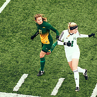 4th year forward, Kirsten Finley (11) of the Regina Cougars during the Women's Soccer home game on Sun Sep 23 at U of R Field. Credit: Arthur Ward/Arthur Images