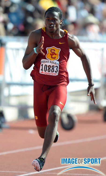 Mar 31, 2012; Austin, TX, USA; Aaron Brown of Southern California wins the 100m in a wind-aided 10.09 in the 85th Clyde Littlefield Texas Relays at Mike A. Myers Stadium.