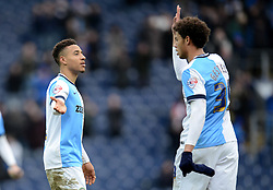 Blackburn Rovers's Adam Henley celebrates with team mate Rudy Gestede at the end of the match - Photo mandatory by-line: Richard Martin Roberts/JMP - Mobile: 07966 386802 - 24/01/2015 - SPORT - Football - Blackburn - Ewood Park - Blackburn Rovers v Swansea City - FA Cup Fourth Round