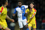 Hope Akpan (Blackburn Rovers) and Joe Newell (Rotherham United) jostle for position during the Sky Bet Championship match between Blackburn Rovers and Rotherham United at Ewood Park, Blackburn, England on 11 December 2015. Photo by Mark P Doherty.