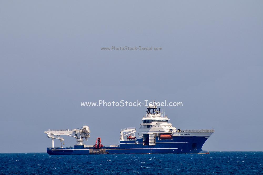 Cargo ship entering the Limassol port, Cyprus
