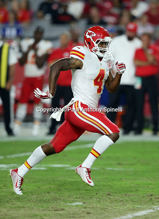 Kansas City Chiefs wide receiver Da'Ron Brown (4) goes out for a pass during the 2015 NFL preseason football game against the Arizona Cardinals on Saturday, Aug. 15, 2015 in Glendale, Ariz. The Chiefs won the game 34-19. (©Paul Anthony Spinelli)