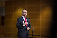 DEU, Deutschland, Germany, Berlin,04.02.2018: Der SPD-Parteivorsitzende Martin Schulz beim Pressestatement vor den Koalitionsverhandlungen zwischen CDU/CSU und SPD im Willy-Brandt-Haus.