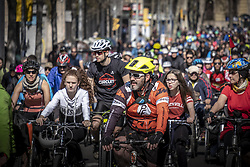 March 24, 2019 - Barcelona, Catalonia, Spain - Participants are seen riding bicycles during the tour through the streets of Barcelona..Thousands of people have participated in the Bicicletada Popular 2019 (Popular bike ride) organized by the City Council in order to encourage the use of bicycles in Barcelona. (Credit Image: © Paco Freire/SOPA Images via ZUMA Wire)