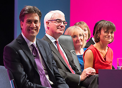 © Licensed to London News Pictures. 22/09/2014. Manchester, UK. Alistair Darling onstage. Labour Party Conference 2014 at the Manchester Convention Centre today 22 September 2014. Photo credit : Stephen Simpson/LNP