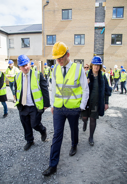 24.04.2017.       <br /> Minister for Housing Simon Coveney visiting the Lord Edward Street site in Limerick, where 81 units for social housing are nearing completion as part of the Limerick Regeneration programme.  57 of which are elderly units (1 and 2 bed apts and 2 bed houses) with the remainder (24) being family homes (3 bed)​. <br /> <br /> Minister for Housing Simon Coveney (centre) is pictured on site with Senator Kieran O'Donnell (left) and Senator Maria Byrne. Picture: Alan Place.