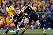 SYDNEY, NSW - AUGUST 18: Australian player Lukhan Tui (6) tackled by New Zealand player Ryan Crotty (12) at the Bledisloe Cup rugby test match between Australia and New Zealand at ANZ Stadium in Sydney on August 18, 2018. (Photo by Speed Media/Icon Sportswire)