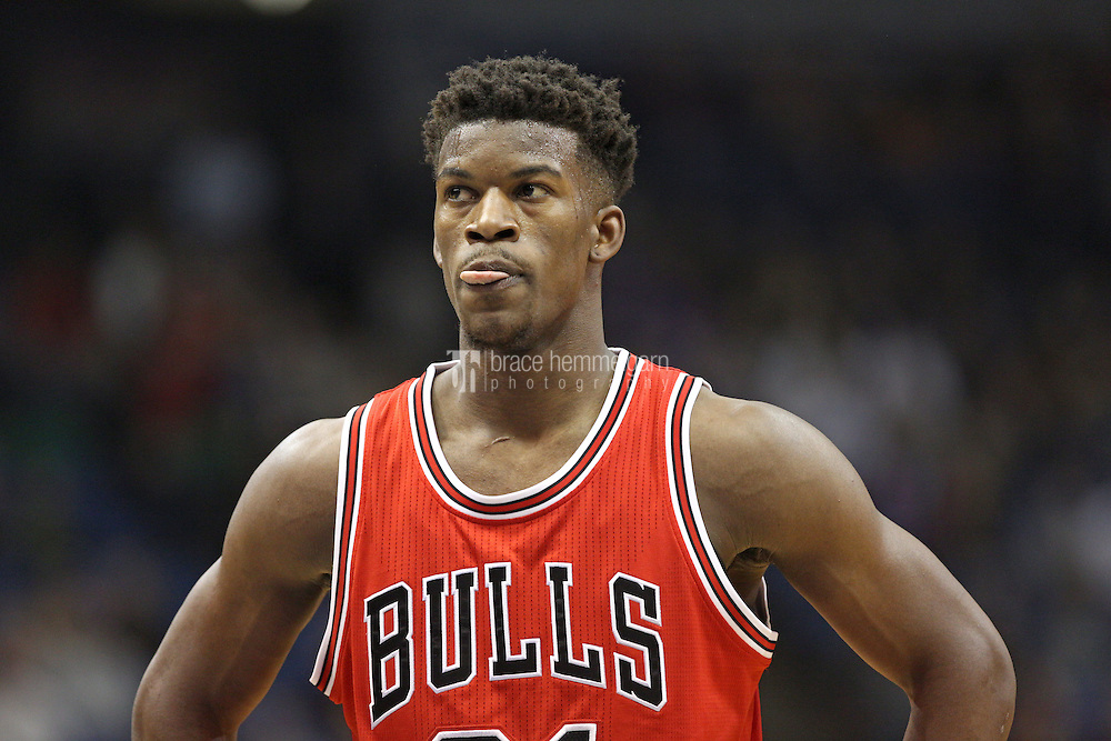 Nov 1, 2014; Minneapolis, MN, USA; Chicago Bulls guard Jimmy Butler (21) against the Minnesota Timberwolves at Target Center. The Bulls defeated the Timberwolves 106-105. Mandatory Credit: Brace Hemmelgarn-USA TODAY Sports