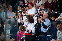 KELOWNA, CANADA - FEBRUARY 8: Fans celebrate a goal for the Kelowna Rockets against the Portland Winterhawks at the Kelowna Rockets on February 8, 2013 at Prospera Place in Kelowna, British Columbia, Canada (Photo by Marissa Baecker/Shoot the Breeze) *** Local Caption ***
