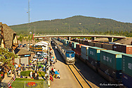 Empire Builder AMTRAK Train pulls into the Whitefish Depot in Whitefish, Montana, USA