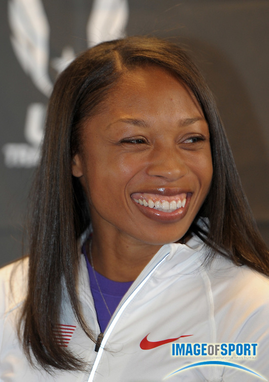Apr 27, 2012; Philadelphia, PA, USA; Allyson Felix at the USA vs The World press conference at the 118th Penn Relays at George A. Weiss Atrium at Franklin Field.