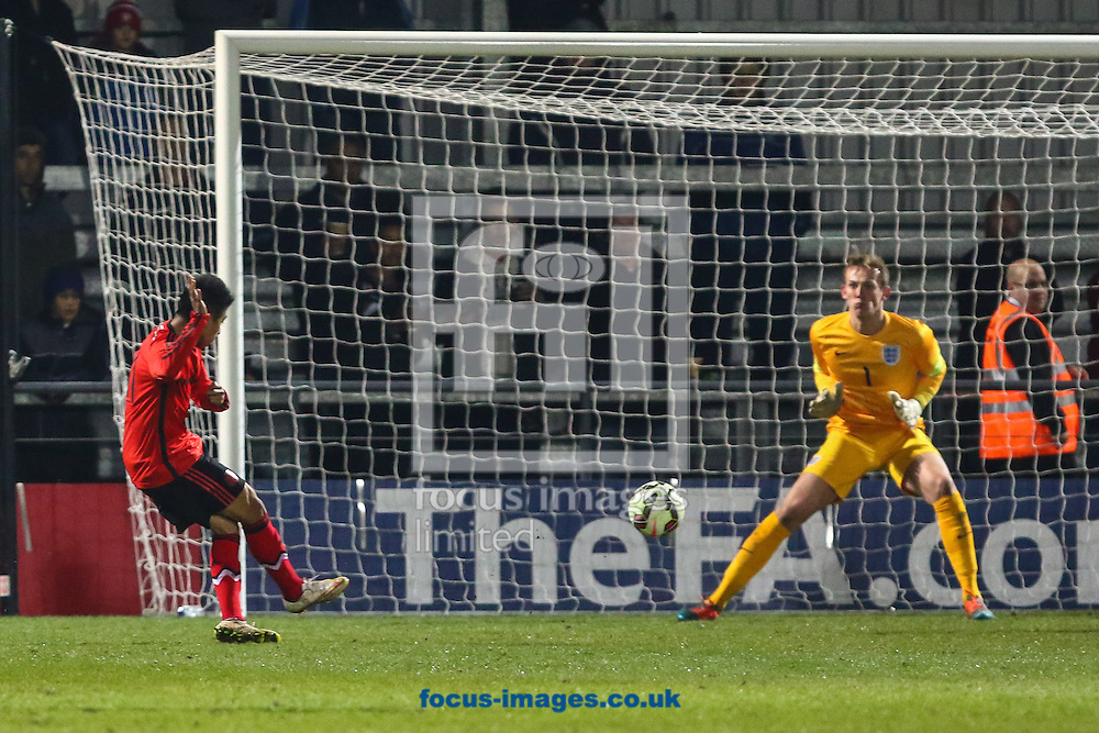 Jose David Ramirez Garcia of Mexico U20 scores against England U20 to make it 0-1 during the International Friendly match at The Hive Stadium, Harrow<br /> Picture by David Horn/Focus Images Ltd +44 7545 970036<br /> 25/03/2015