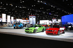 08 February 2012: Ford Mustang display. Chicago Auto Show, Chicago Automobile Trade Association (CATA), McCormick Place, Chicago Illinois