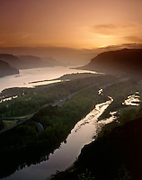 Dawn over the Columbia River Gorge, Columbia River Gorge National Scenic Area, Oregon USA