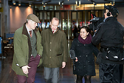 © Licensed to London News Pictures. 15/01/2018. London, UK. UKIP party leader HENRY BOLTON (second left)  is seen leaving BBC Broadcasting House in London following interviews. Mr Bolton is under pressure after his partner, glamour model Jo Marney, wrote offensive text messages to friend. She has been suspended from the party. Photo credit: Ben Cawthra/LNP