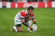 Japan's Ayumu Goromaru prepares to take a penalty during the Rugby World Cup Pool B match between Scotland and Japan at the Kingsholm Stadium, Gloucester, United Kingdom on 23 September 2015. Photo by Shane Healey.