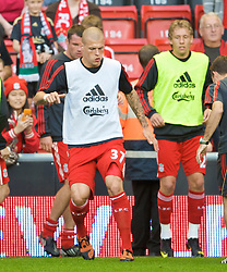 LIVERPOOL, ENGLAND - Monday, August 24, 2009: Liverpool's Martin Skrtel warms-up before the Premiership match against Aston Villa at Anfield. (Photo by David Rawcliffe/Propaganda)