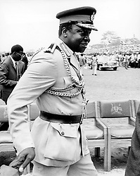 Sep 20, 1972; Kampala, Uganda; The former dictatorial leader of Uganda from 1971-1979, IDI AMIN DADA, has been called 'One of the most batshit loco leaders ever to seize control of a chaotic African nation.' Amin rounded up the military leaders that did not support his coup, murdered them, decapitated them and sat their disembodied heads around the presidential dining table, scolding them for not supporting him, and taking bites of their flesh.' The picture shows General Amin having a good deal going for him. (Credit Image: © Keystone Press Agency/Keystone USA via ZUMAPRESS.com)