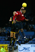 Photo. Chris Ratcliffe<br />Southend United v Bristol Rovers. FA Nationwide 3rd Division. 20/12/2003<br />Adam Barrett goes up for a header with Tes Bramble of Southend