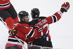 May 6, 2012; Newark, NJ, USA; New Jersey Devils defenseman Marek Zidlicky (2) and New Jersey Devils left wing Ilya Kovalchuk (17) celebrate Zidlicky's goal during the first period in game four of the 2012 Eastern Conference semifinals at the Prudential Center.